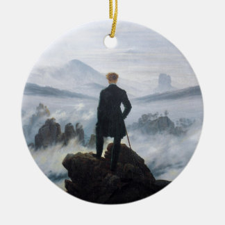 The wanderer above the sea of fog by Caspar David Christmas Ornament