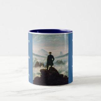 The wanderer above the sea of fog Two-Tone coffee mug