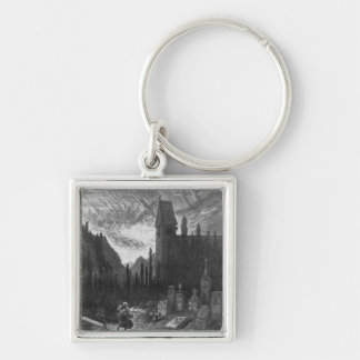 The Wandering Jew in the cemetery Silver-Colored Square Key Ring