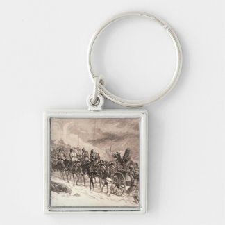 The War Between Servia and Bulgaria Silver-Colored Square Key Ring