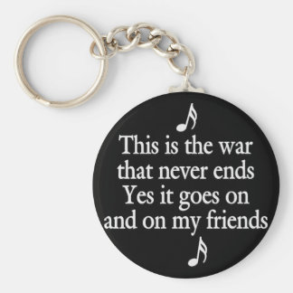 The war that never ends basic round button key ring