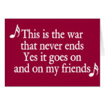 The war that never ends (white text) greeting card