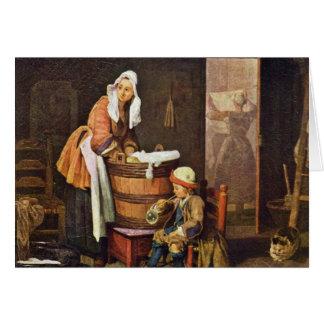 The Washerwoman,  By Chardin Jean-Baptiste Siméon Greeting Card