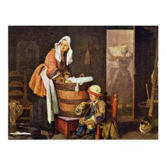 The Washerwoman,  By Chardin Jean-Baptiste Siméon Postcard