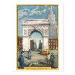 The Washington Arch. New York. Vintage Painting. Postcard