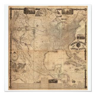 The Washington Map of the United States (1861) 13 Cm X 13 Cm Square Invitation Card