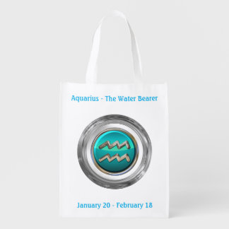 The Water Bearer - Aquarius Horoscope Sign Reusable Grocery Bag