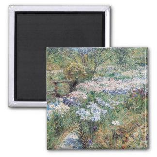 The Water Garden Childe Hassam Fine Art Square Magnet