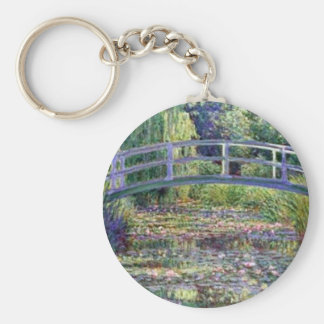 The Water Lily Pond by Claude Monet Basic Round Button Key Ring