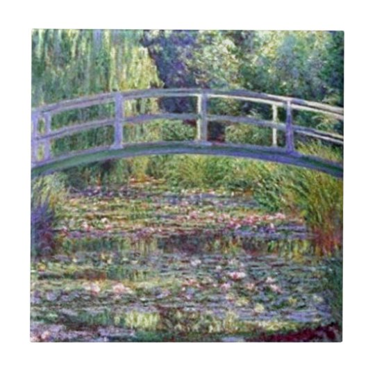 The Water Lily Pond by Claude Monet Small Square Tile