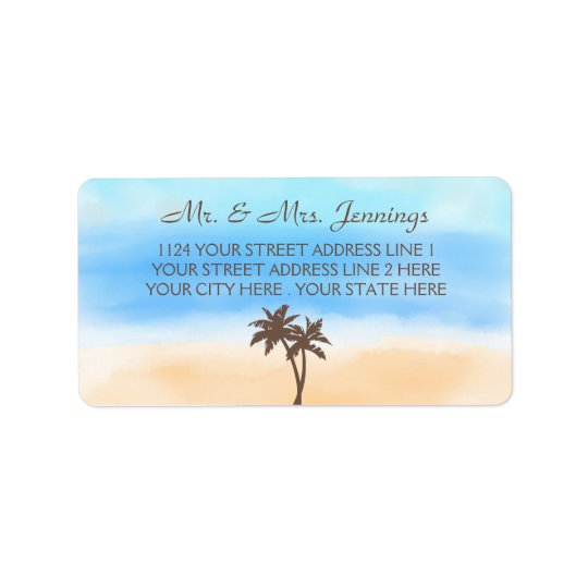 The Watercolor Beach Wedding Collection Label
