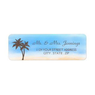 The Watercolor Beach Wedding Collection Return Address Label