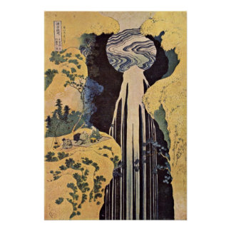 The Waterfall of Amida by Katsushika Hokusai Poster