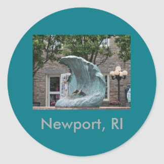 """The Wave"" Newport, RI Round Sticker"