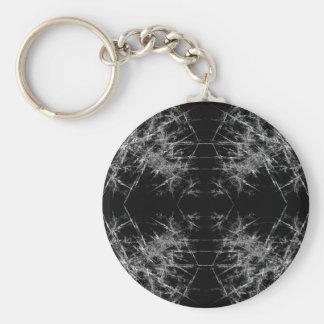 The Way In. Fractal Art. Monochrome Key Ring