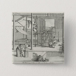 `The Weaving of Flower'd Silks', Two Women at Work 15 Cm Square Badge