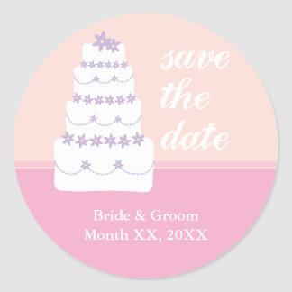 The Wedding Cake Save The Date Round Stickers
