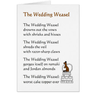 The Wedding Weasel - a funny wedding poem Card