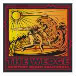 THE WEDGE NEWPORT BEACH CALIFORNIA SURFING POSTER