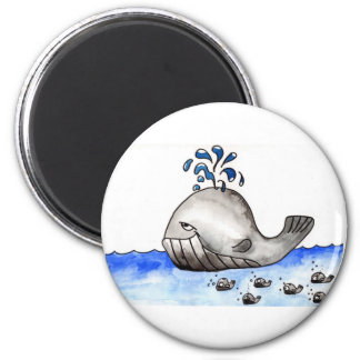 The whale family 6 cm round magnet