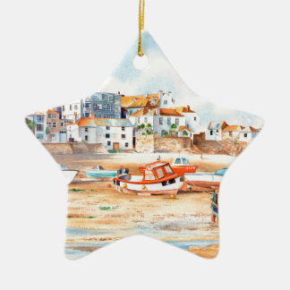 The Wharf St. Ives, Corwall Ceramic Star Decoration