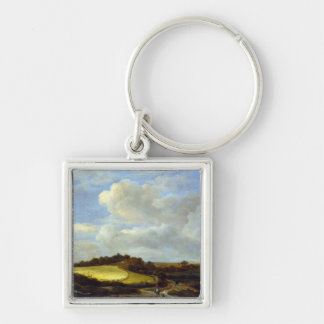 The Wheatfield Silver-Colored Square Key Ring