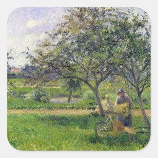 The Wheelbarrow, Orchard, c.1881 Square Sticker