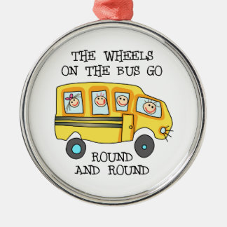 THE WHEELS ON THE BUS Silver-Colored ROUND DECORATION