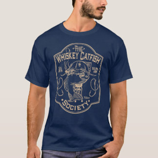 The Whiskey Catfish Society - Navy/Tan T-Shirt
