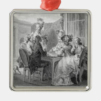The Whist Party, 1783, engraved by Jean Dambrun (1 Silver-Colored Square Decoration