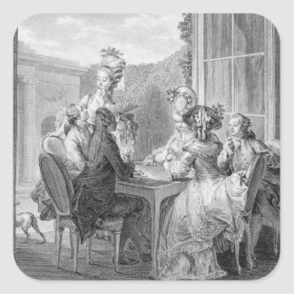 The Whist Party, 1783, engraved by Jean Dambrun (1 Square Sticker