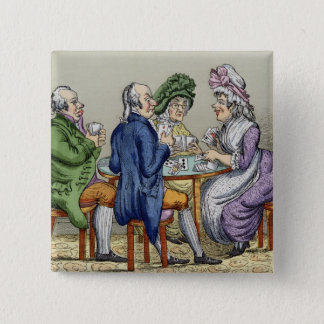 The Whist Party (colour litho) 15 Cm Square Badge