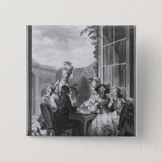 The whist party, engraved by Jean Dambrun  1783 15 Cm Square Badge