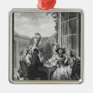 The whist party, engraved by Jean Dambrun  1783 Silver-Colored Square Decoration