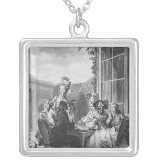 The whist party, engraved by Jean Dambrun  1783 Silver Plated Necklace
