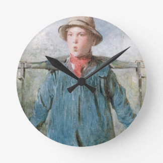 The Whistling Farm-Hand, 19th century (w/c and bod Round Clocks