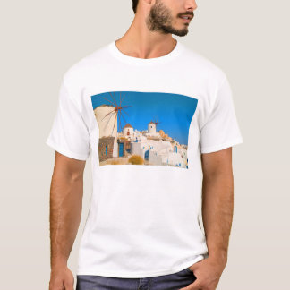 The white buildings and the windmills on the T-Shirt
