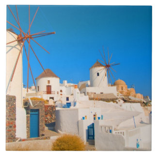 The white buildings and the windmills on the tile