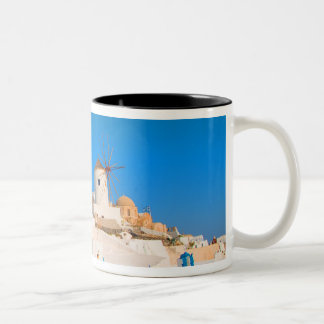 The white buildings and the windmills on the Two-Tone coffee mug
