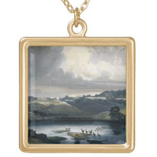 The White Castels on the Upper Missouri, plate 37 Gold Plated Necklace