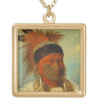 The White Cloud, Head Chief of the Iowas Square Pendant Necklace