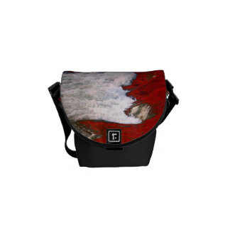 The white foam stops to the red lava river courier bag