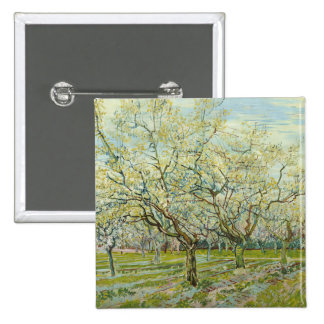 The white orchard by Vincent Van Gogh 2 Inch Square Button