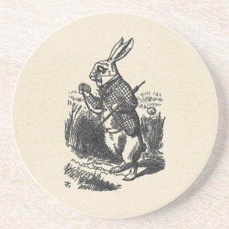 The White Rabbit Checks His Watch Beverage Coaster