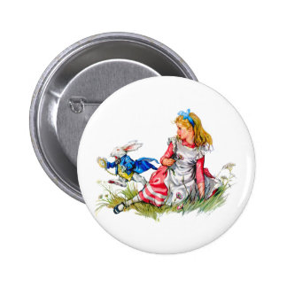 THE WHITE RABBIT DASHES BY ALICE 6 CM ROUND BADGE