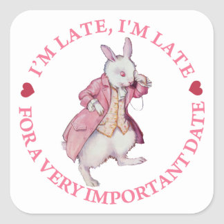 The White Rabbit From Alice in Wonderland Square Sticker