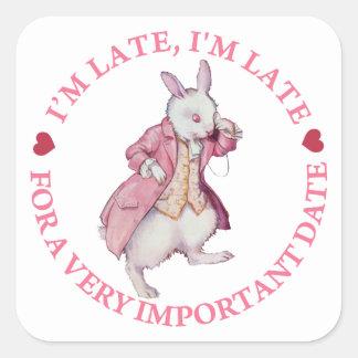 The White Rabbit From Alice in Wonderland Square Sticker