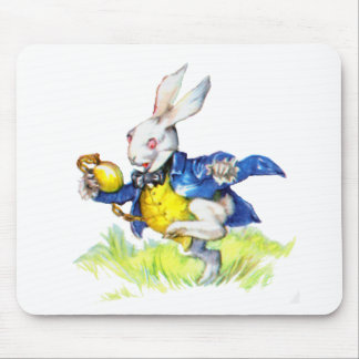 """THE WHITE RABBIT, """"I'M LATE, I'M LATE."""" MOUSE PAD"""