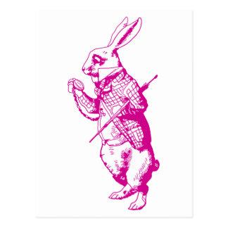 The White Rabbit Inked Pink Postcard