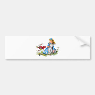 The White Rabbit races by Alice - he's late! Bumper Sticker